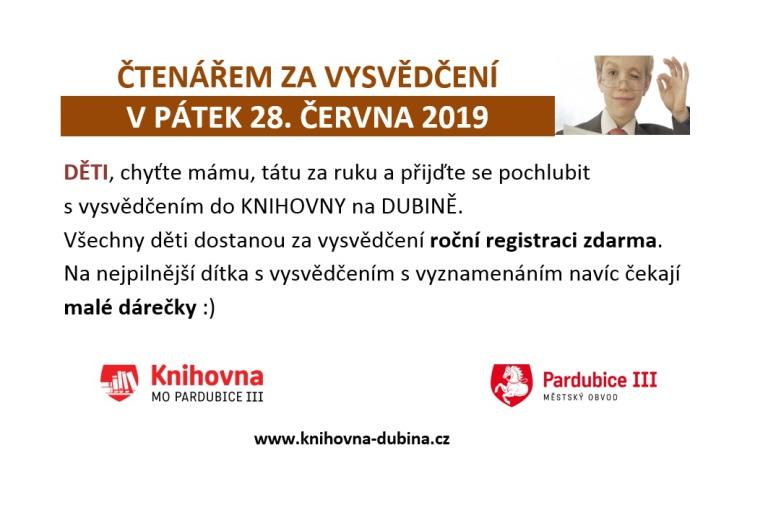 ČTENÁŘEM ZA VYSVĚDČENÍ 28.6.2019