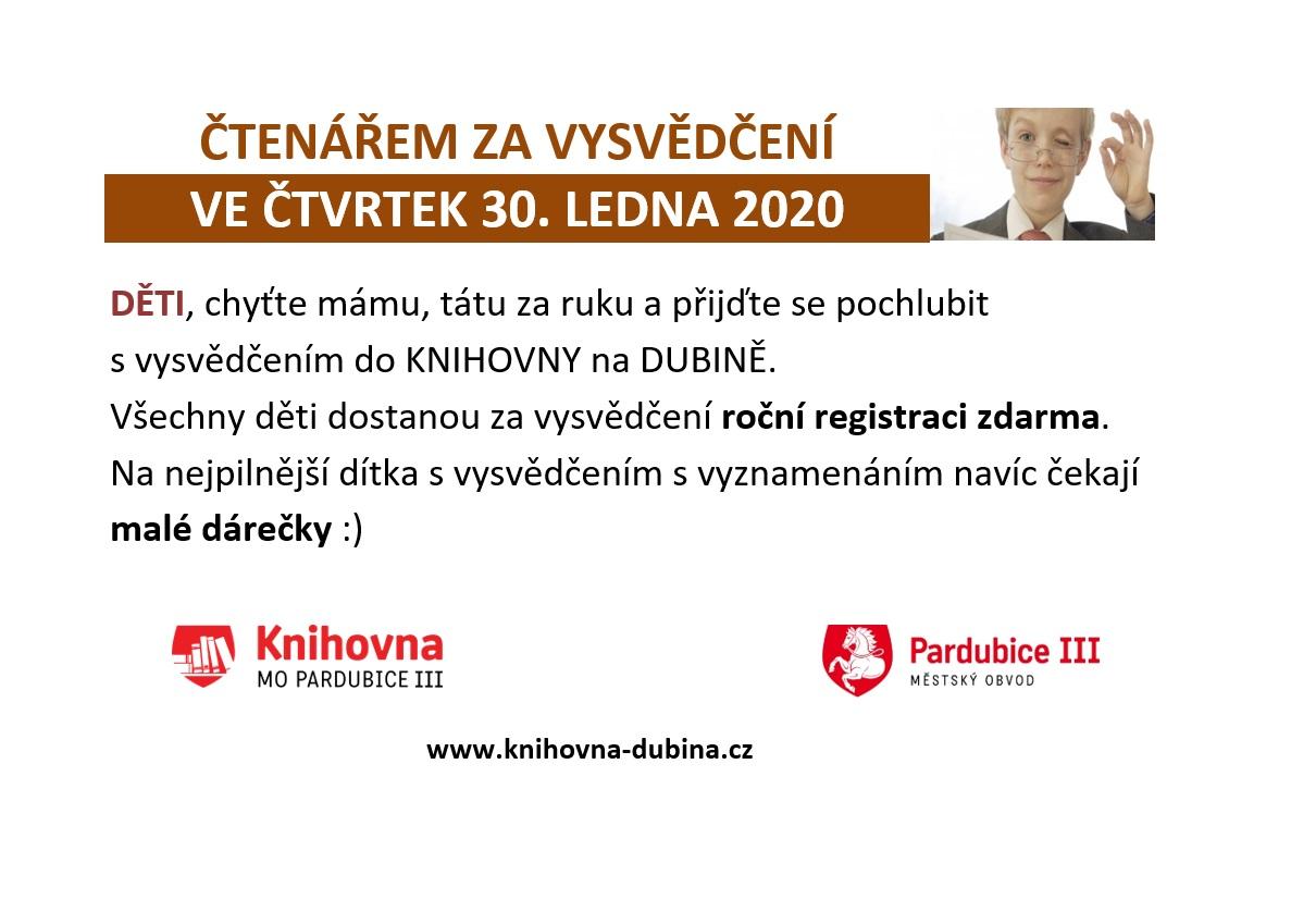 ČTENÁŘEM ZA VYSVĚDČENÍ 30.1.2020