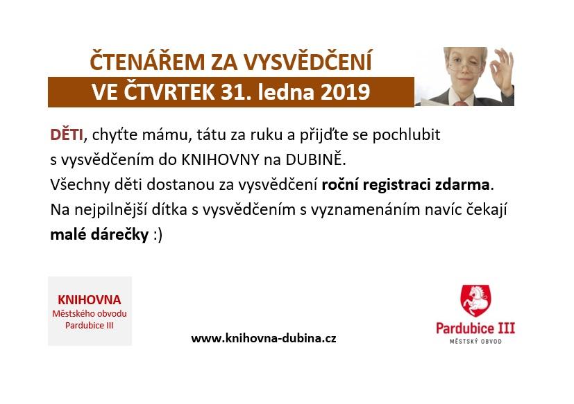 ČTENÁŘEM ZA VYSVĚDČENÍ 31.1.2019