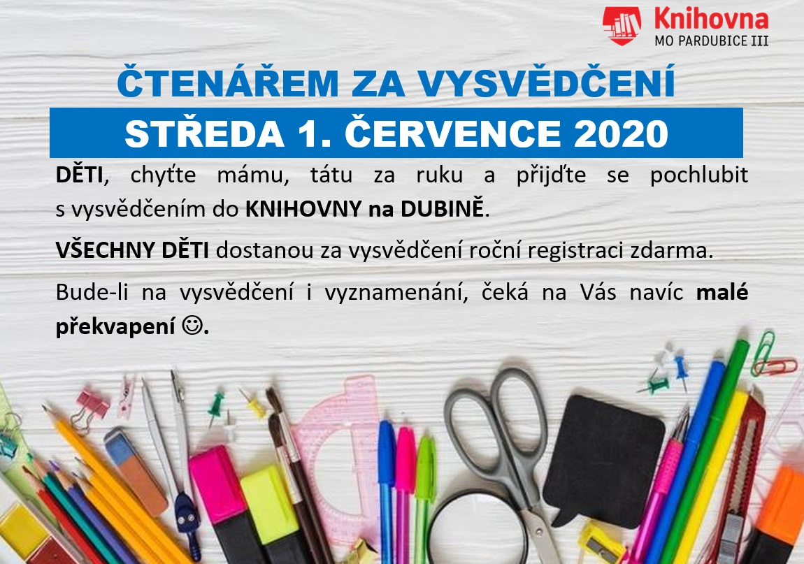1.7.2020 ČTENÁŘEM ZA VYSVĚDČENÍ