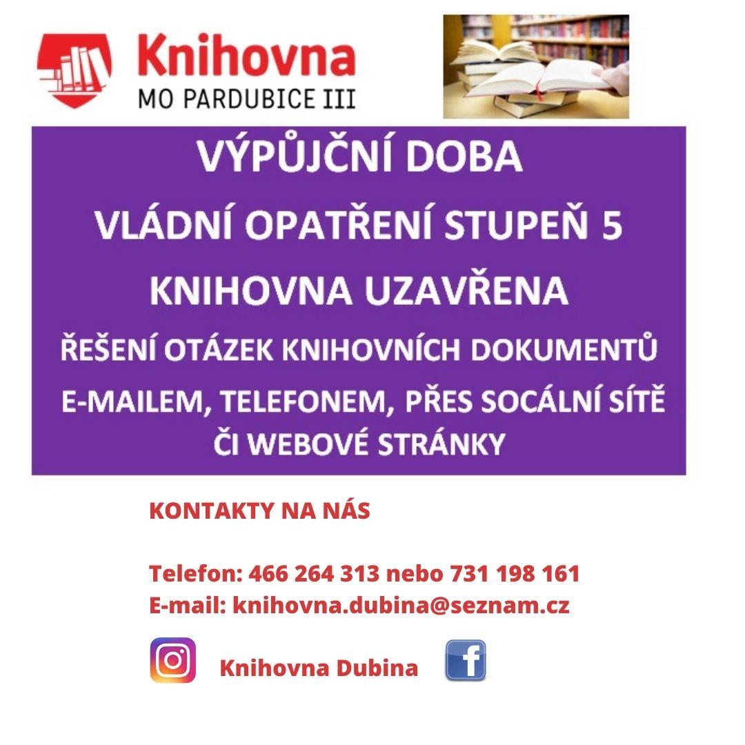 KONTAKTY NA NÁS Telefon_ 466 264 313 nebo 731 198 161 E-mail_ knihovna.dubina@seznam.cz Facebook_