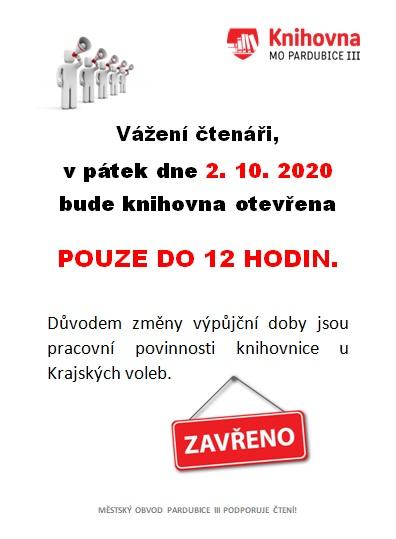 knihovna pracovní doba 2.10.2020