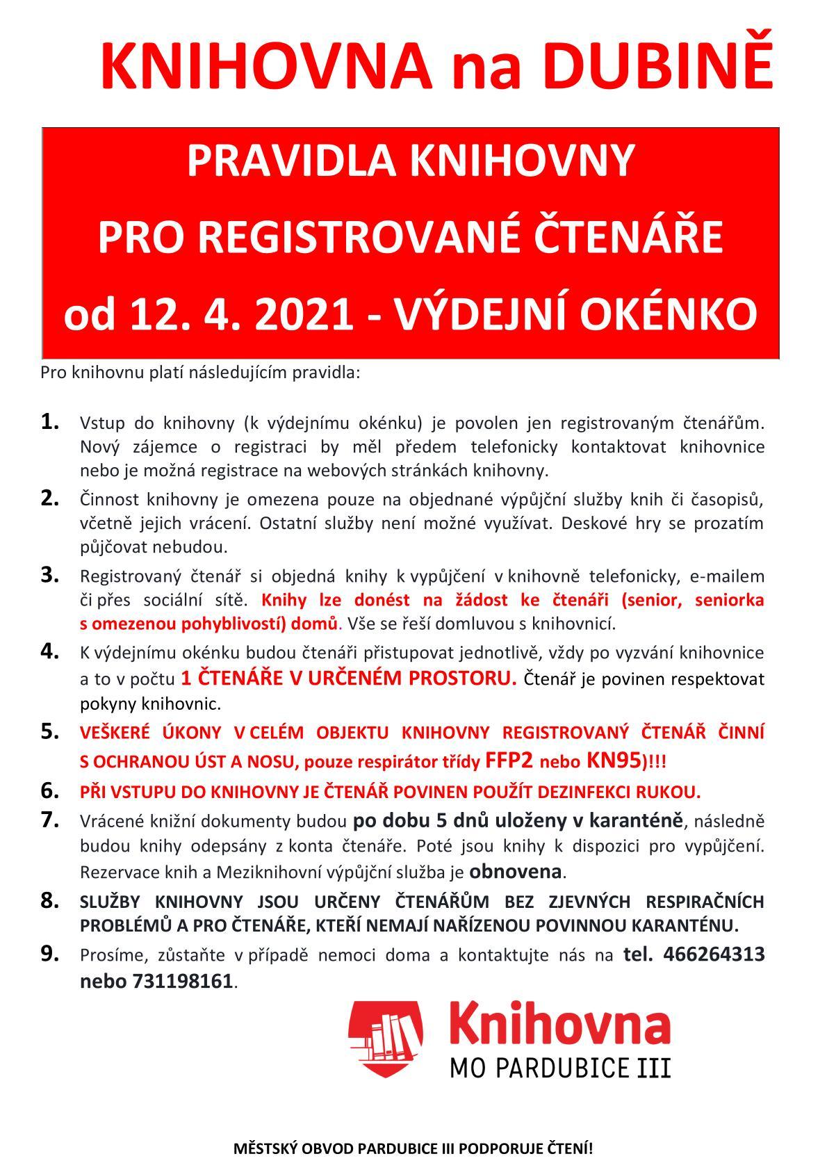 pravidla čtenáři okénko od 12.4.2021