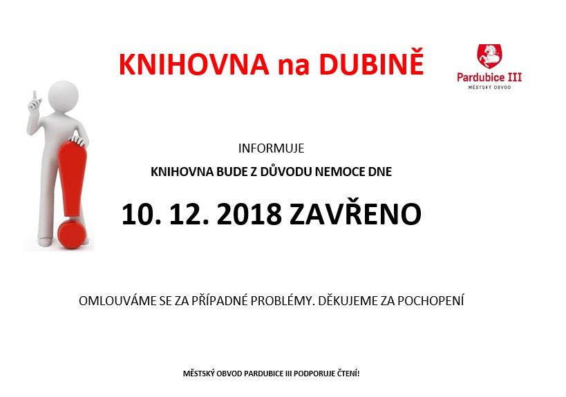 změna výpůjční doby 10.12.2018